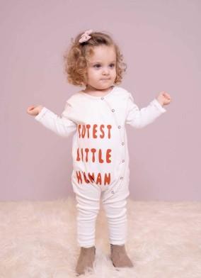 Slogan Baskılı Unisex Bebek Tulum