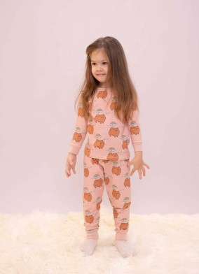 Köpek Desenli Kız Çocuk Pijama Takımı