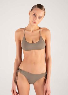 Straplez Haki Bağcıklı Bikini