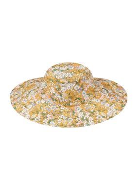 Ester Sarı Desenli Balıkçı Şapka