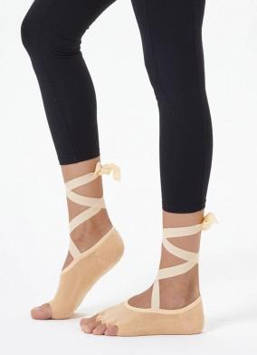 Bej Kayışlı Yoga & Pilates Çorabı