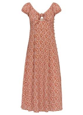Evelyn Fiyonk Detaylı Midi Elbise