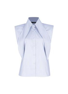 Anethum Mavi Yaka Detaylı Vatkalı Koton Gömlek