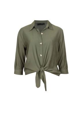 Coridon Haki Önden Bağlamalı Kısa Gömlek