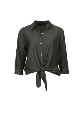 Coridon Siyah Önden Bağlamalı Kısa Gömlek