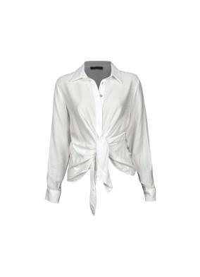 Hortesia Beyaz Önden Bağlamalı Viskon Gömlek