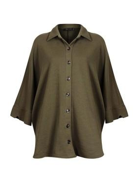 Sativa Haki Düğme Detaylı Oversized Gömlek
