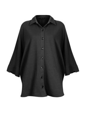 Sativa Siyah Düğme Detaylı Oversized Gömlek