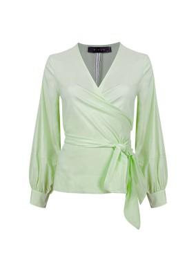 Scillia Fıstık Yeşili Anvelop Bağlamalı Balon Kollu Koton Gömlek