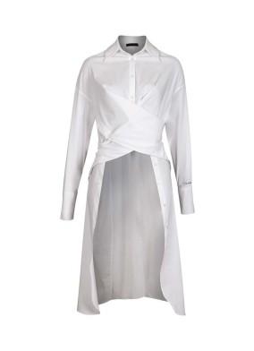 Tempus Beyaz 'Timeless' Nakış Detaylı Önden ve Yandan Düğmeli Uzun Gömlek