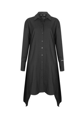 Tempus Siyah 'Timeless' Nakış Detaylı Önden ve Yandan Düğmeli Uzun Gömlek