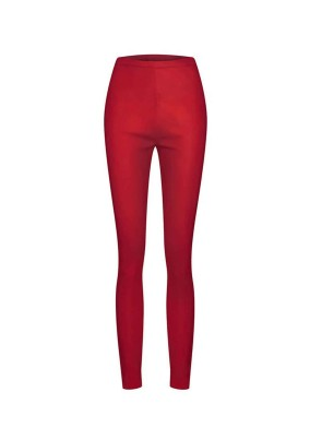 Achimenes Kırmızı Yüksek Bel Strech Deri Tayt Pantolon