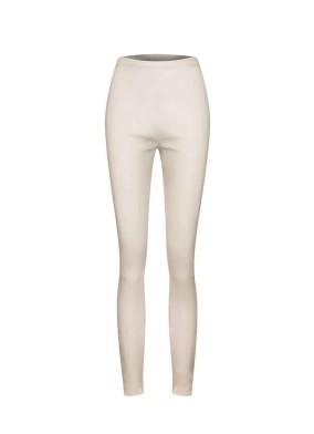 Achimenes Beyaz Yüksek Bel Strech Deri Tayt Pantolon