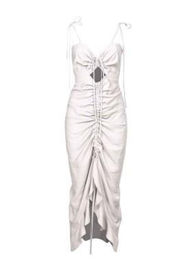 Actis Ekru Spagetti Askılı Ayarlanabilir Dekolyeli Midi Elbise