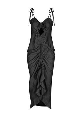 Actis Siyah Spagetti Askılı Ayarlanabilir Dekolyeli Midi Elbise