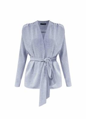 Aesclulus Gri Rahat Kalıp Bağlamalı Bluz Ceket