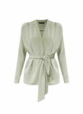 Aesclulus Yeşil Rahat Kalıp Bağlamalı Bluz Ceket