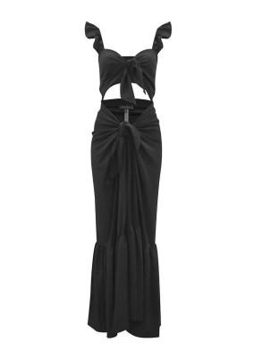 Allıum Siyah 2 Parça Önden Bağlamalı İkonik Elbise