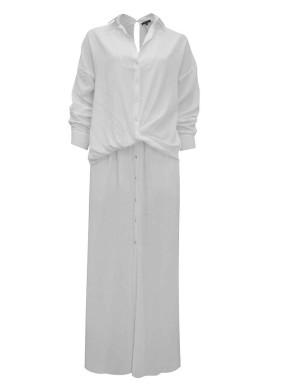 Amphelopsis Ekru Önü Düğmeli İçi Şortlu İkonik Viskon Gömlek Elbise
