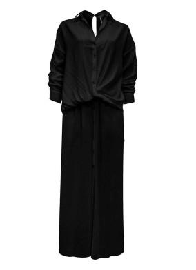 Amphelopsis Siyah Önü Düğmeli İçi Şortlu İkonik Viskon Gömlek Elbise