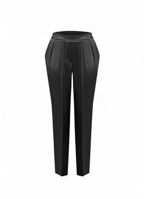 Aphelandra Siyah Önü Korsajlı Arkası Lastikli Saten Pijama Pantolon