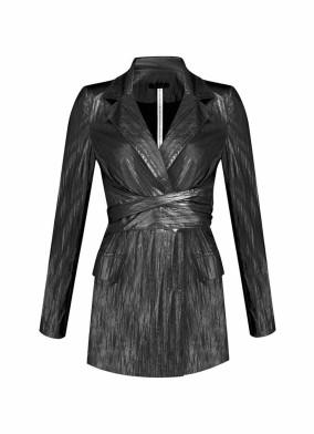 Argemon Siyah Glitter Paraşüt Kumaş Bağlamalı Vatkalı Blazer Ceket
