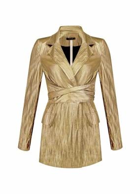 Argemon Sarı Glitter Paraşüt Kumaş Bağlamalı Vatkalı Blazer Ceket
