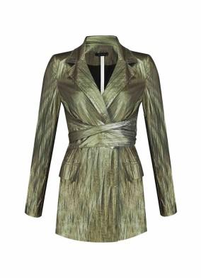 Argemon Yeşil Glitter Paraşüt Kumaş Bağlamalı Vatkalı Blazer Ceket