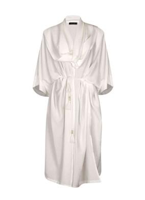Argynis Ekru Beli Kuşaklı Şal Yaka Midi Kimono