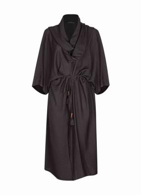 Argynis Siyah Beli Kuşaklı Şal Yaka Midi Kimono