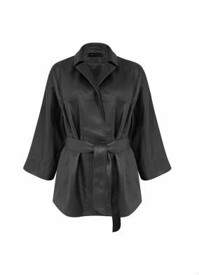 Aureus Siyah Bağlamalı Deri Ceket