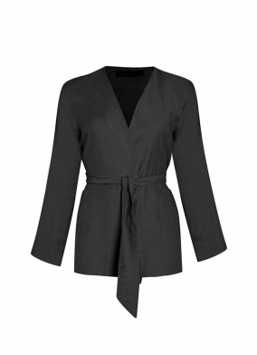 Beli Kuşaklı Siyah Viskon Ceket