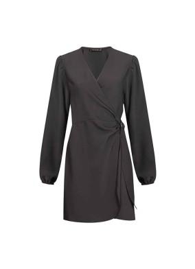 Bigonia D Tokalı Anvelop Bağlamalı Krep Mini Elbise