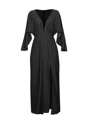 Bilini Siyah V Yaka Yırtmaçlı Kol Maksi Elbise
