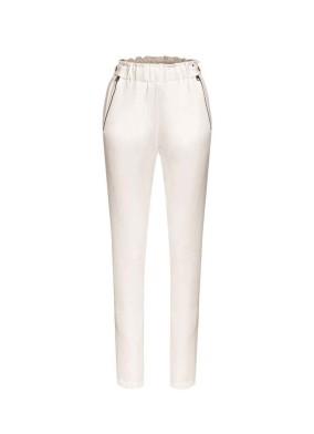 Brassica Beyaz Fermuar Detaylı Krep Pantolon