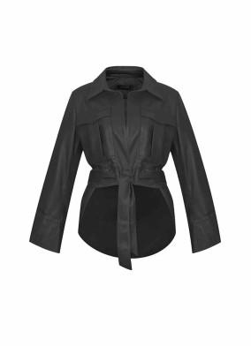 Crocus Siyah Önü Kısa Arkası Uzun Beli Kuşaklı Deri Ceket