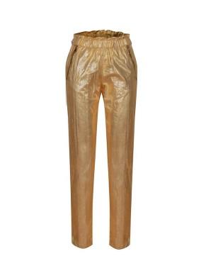 Argemon Sarı Glitter Paraşüt Kumaş Fermuar Detaylı Pantolon