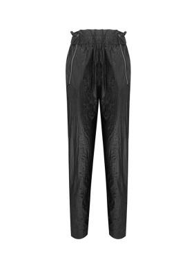 Argemon Siyah Glitter Paraşüt Kumaş Fermuar Detaylı Pantolon