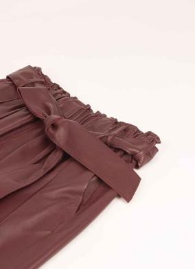 Ficoide Bordo Beli Kuşaklı Deri Pantolon
