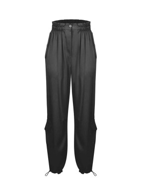 Dorema Siyah Saten Kargo Pantolon