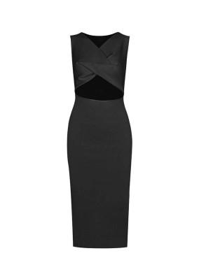 Eupheme Siyah Pencereli Triko Elbise