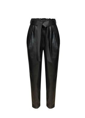Ficoide Siyah Beli Kuşaklı Deri Pantolon
