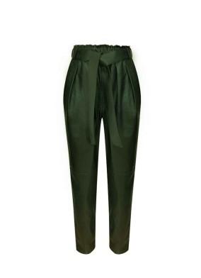 Ficoide Yeşil Beli Kuşaklı Deri Pantolon