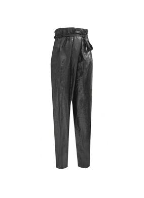 Floksia Siyah Glitter Paraşüt Kumaş Asimetrik Kesim Beli Kuşaklı Bol Paça Pantolon