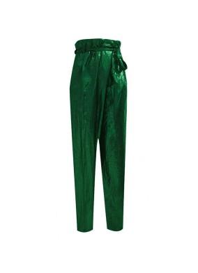 Floksia Yeşil Glitter Paraşüt Kumaş Asimetrik Kesim Beli Kuşaklı Bol Paça Pantolon