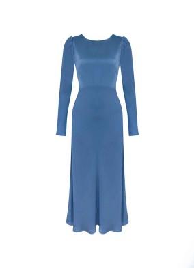 Granda Lacivert Arkası Düğmeli Saten Maxi Elbise
