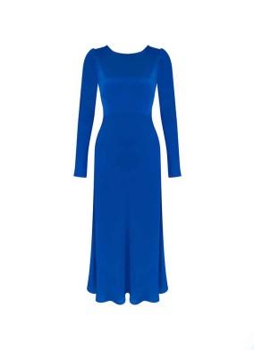 Granda Saks Arkası Düğmeli Saten Maxi Elbise