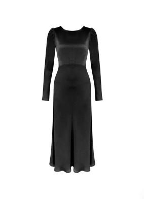 Granda Siyah Arkası Düğmeli Saten Maxi Elbise
