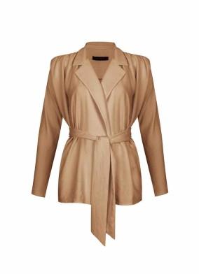 Hedera Bej Rahat Kalıp Vatkalı Bluz Ceket