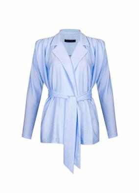 Hedera Mavi Rahat Kalıp Vatkalı Bluz Ceket